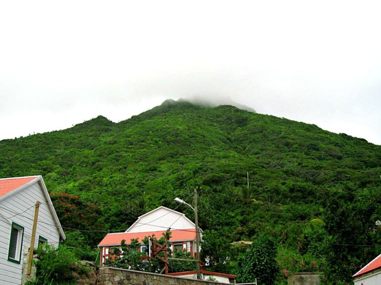 Square Nickel House Back Yard View Saba